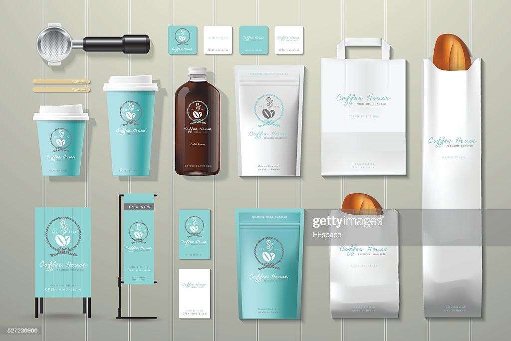 Coffee house corporate identity template design set