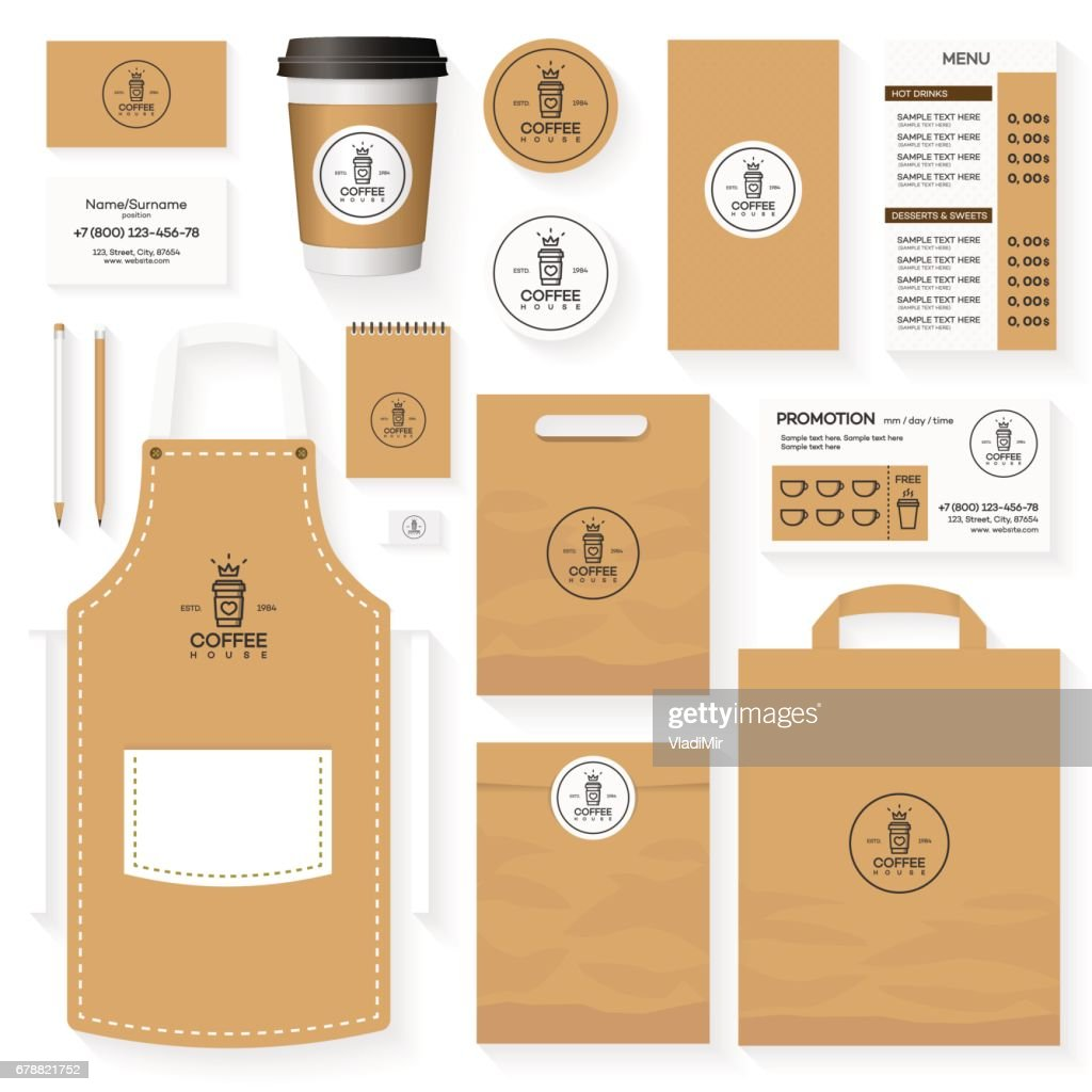 Coffee house corporate identity template design set with coffee house logo and glass of coffee. Restaurant cafe set card, flyer, menu, package, uniform design set. Stock vector