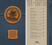 coffee house menu on denim background with price