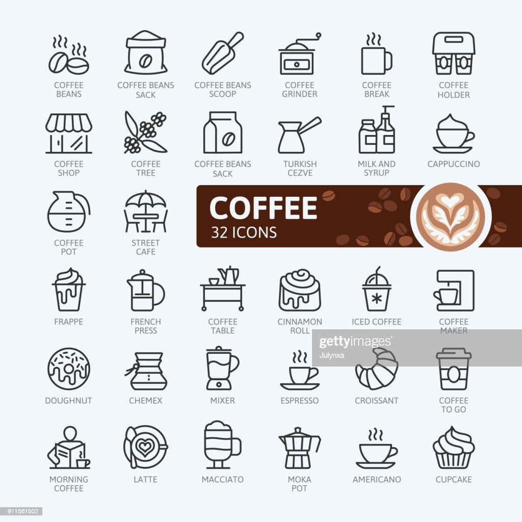 Coffee house - outline icons collection
