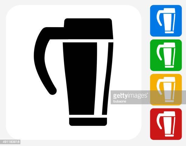 coffee icon flat graphic design - flask stock illustrations