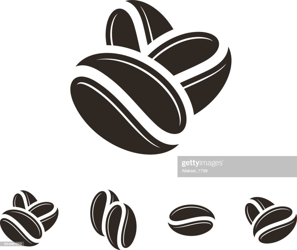 Coffee. Icon set. Isolated coffee beans on white background