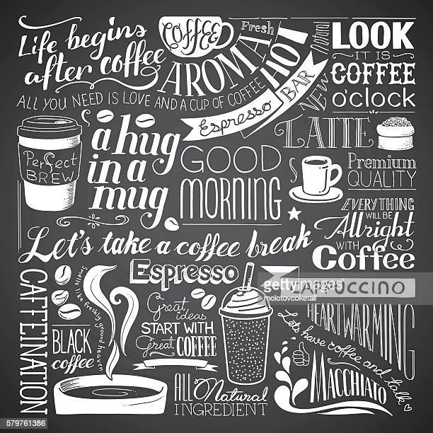 coffee icon wallpaper - chalk art equipment stock illustrations, clip art, cartoons, & icons