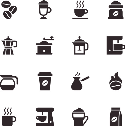 Coffee Icons - Black - gettyimageskorea