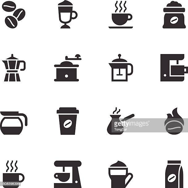 coffee icons - black - bean stock illustrations
