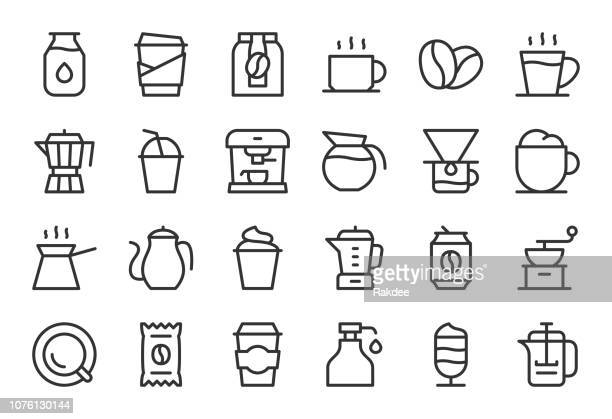 coffee icons - light line series - roasted coffee bean stock illustrations