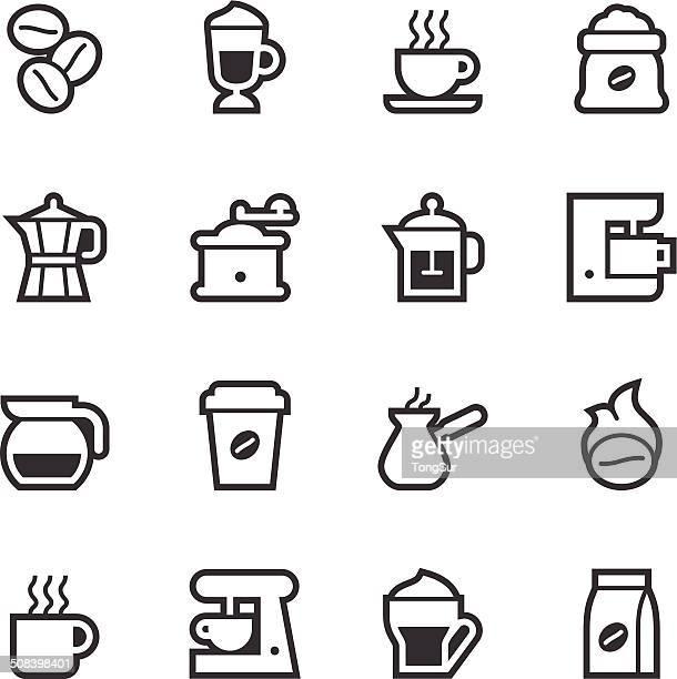 coffee icons - line - caffeine stock illustrations, clip art, cartoons, & icons