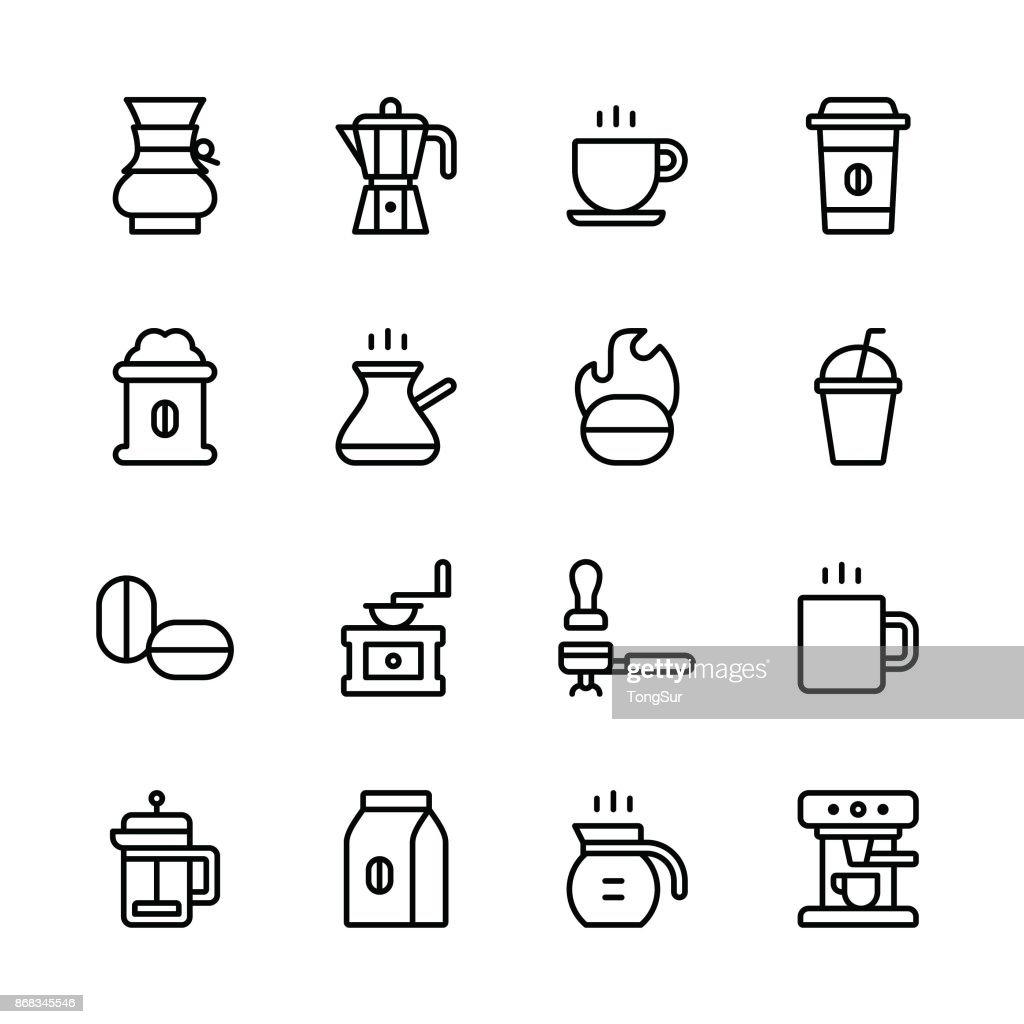 Coffee icons - line : Stock Illustration