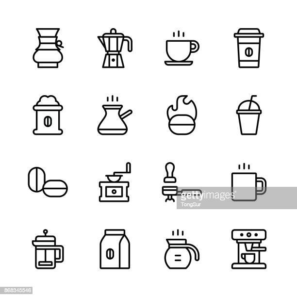 coffee icons - line - bean stock illustrations