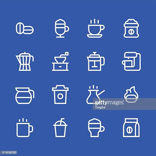 Coffee icons - line - white series