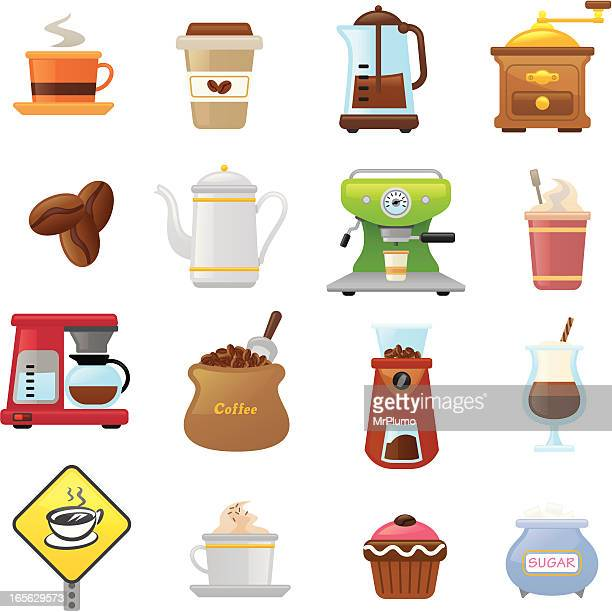 coffee  icons | smoso series - scoop shape stock illustrations, clip art, cartoons, & icons