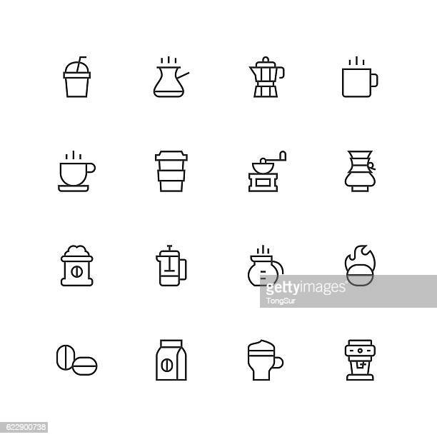 coffee icons - unique  - line series - saucer stock illustrations