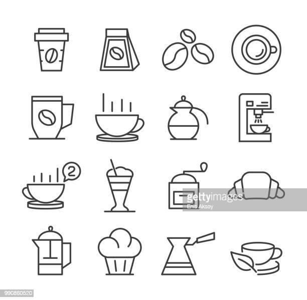 ilustrações de stock, clip art, desenhos animados e ícones de coffee icons - mesa cafe da manha
