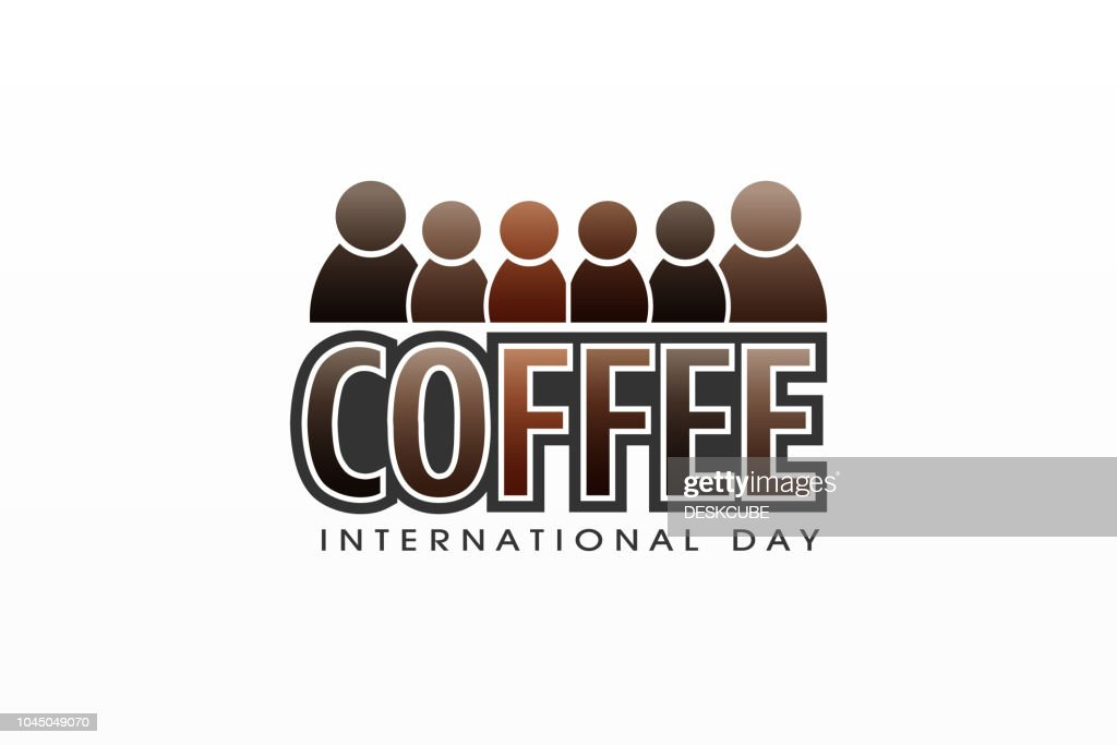 Coffee international day, colorful vector letter and people