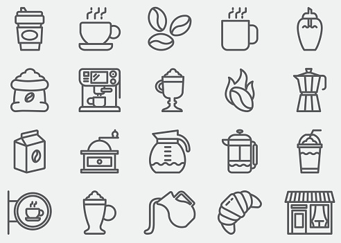 Coffee Line Icons - gettyimageskorea