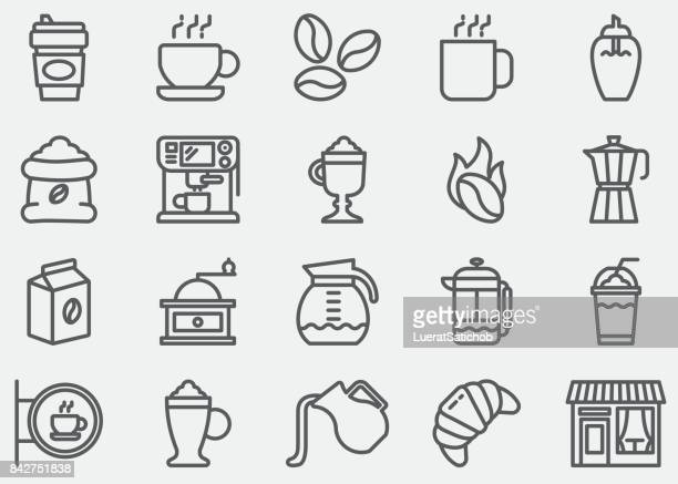 coffee line icons - bean stock illustrations