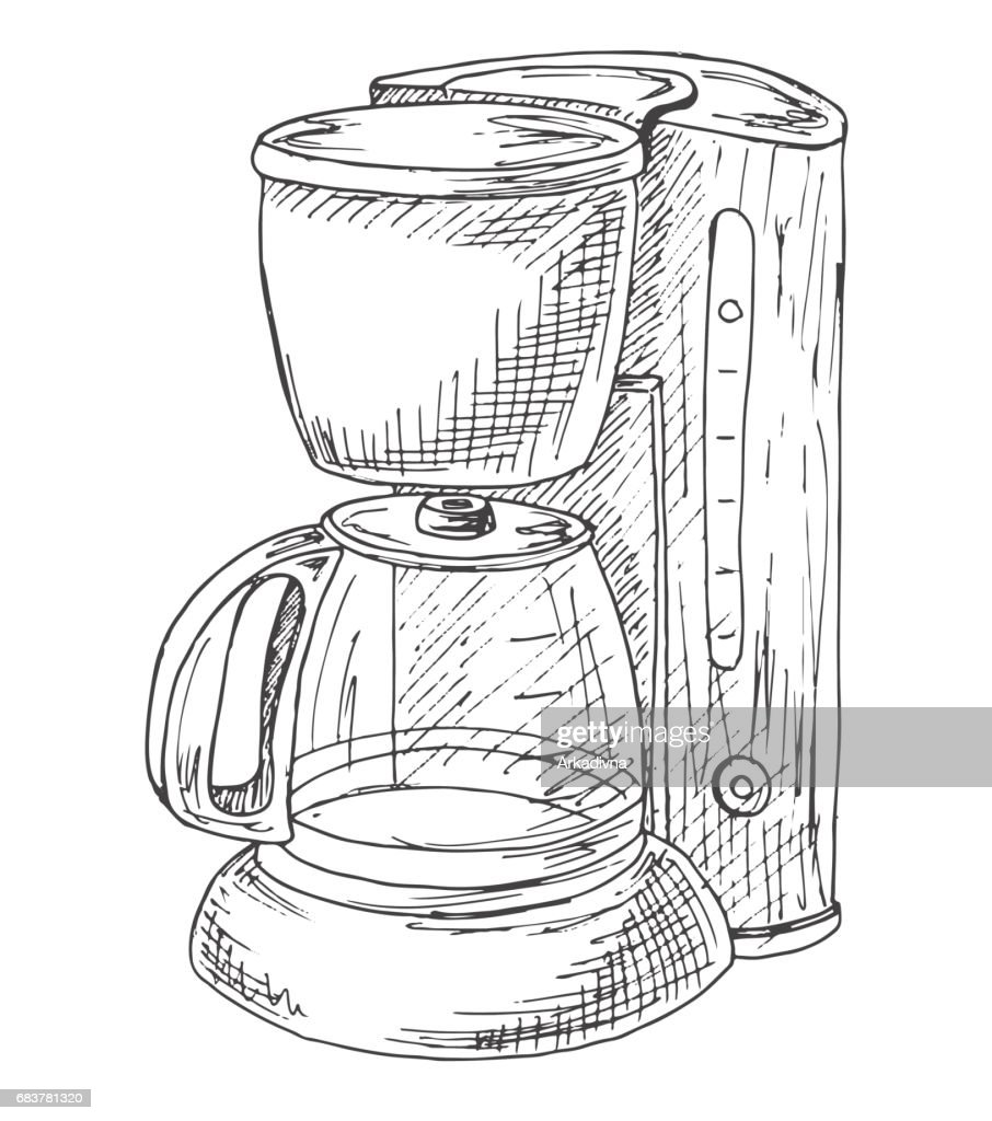 Coffee machine isolated on white background. Vector illustration of a sketch style.