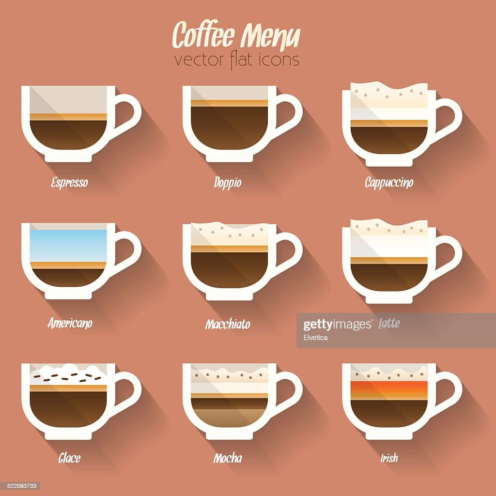 Coffee menu flat icon set.