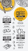 Coffee menu placemat food restaurant brochure.