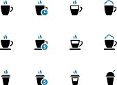 Coffee mug duotone icons on white background.