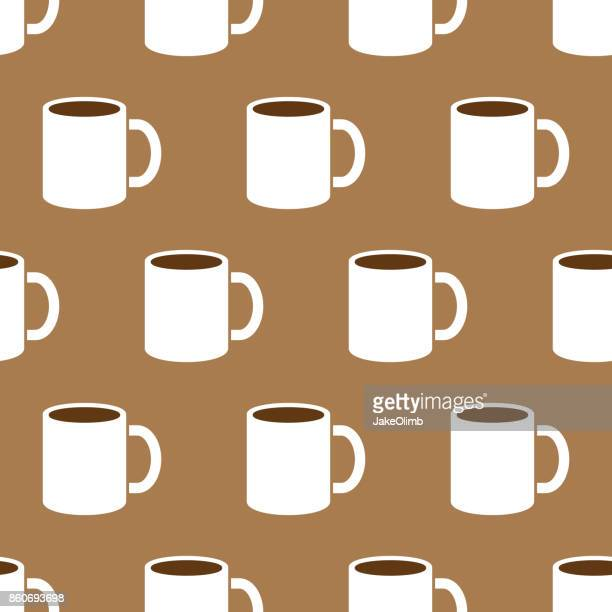 coffee mug pattern - coffee break stock illustrations, clip art, cartoons, & icons