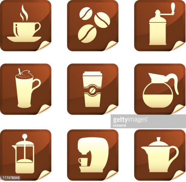 Coffee nine royalty free vector icon set