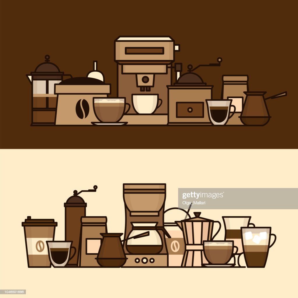 Coffee objects and equipment. Cup and coffee brewing methods. Coffee makers and coffee machines, kettle, french press, moka pot, cezve. Flat style, vector illustration.