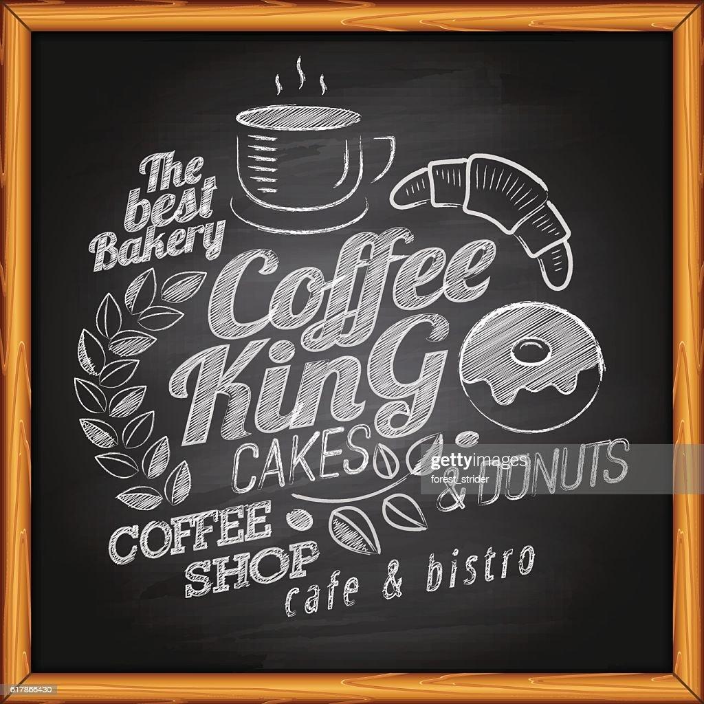 Coffee on blackboard : stock illustration