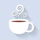 Coffee or tea cup icon. White mug.