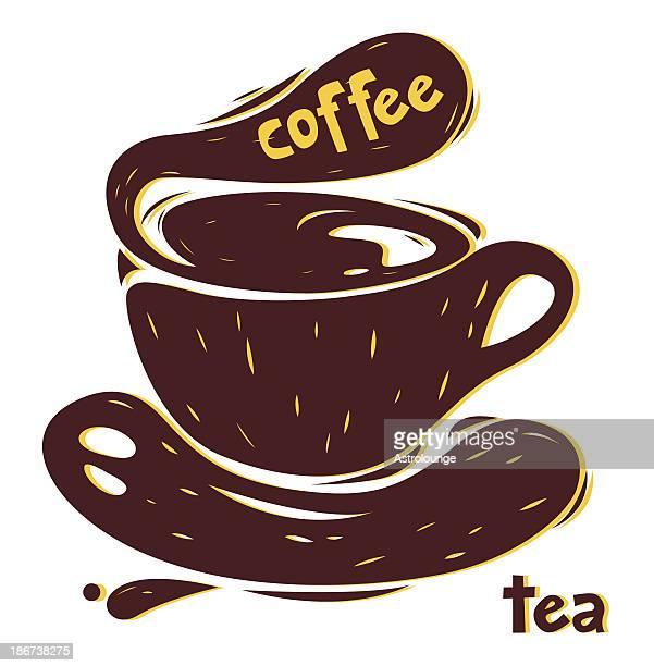 コーヒーまたはティー - リノリウム点のイラスト素材/クリップアート素材/マンガ素材/アイコン素材
