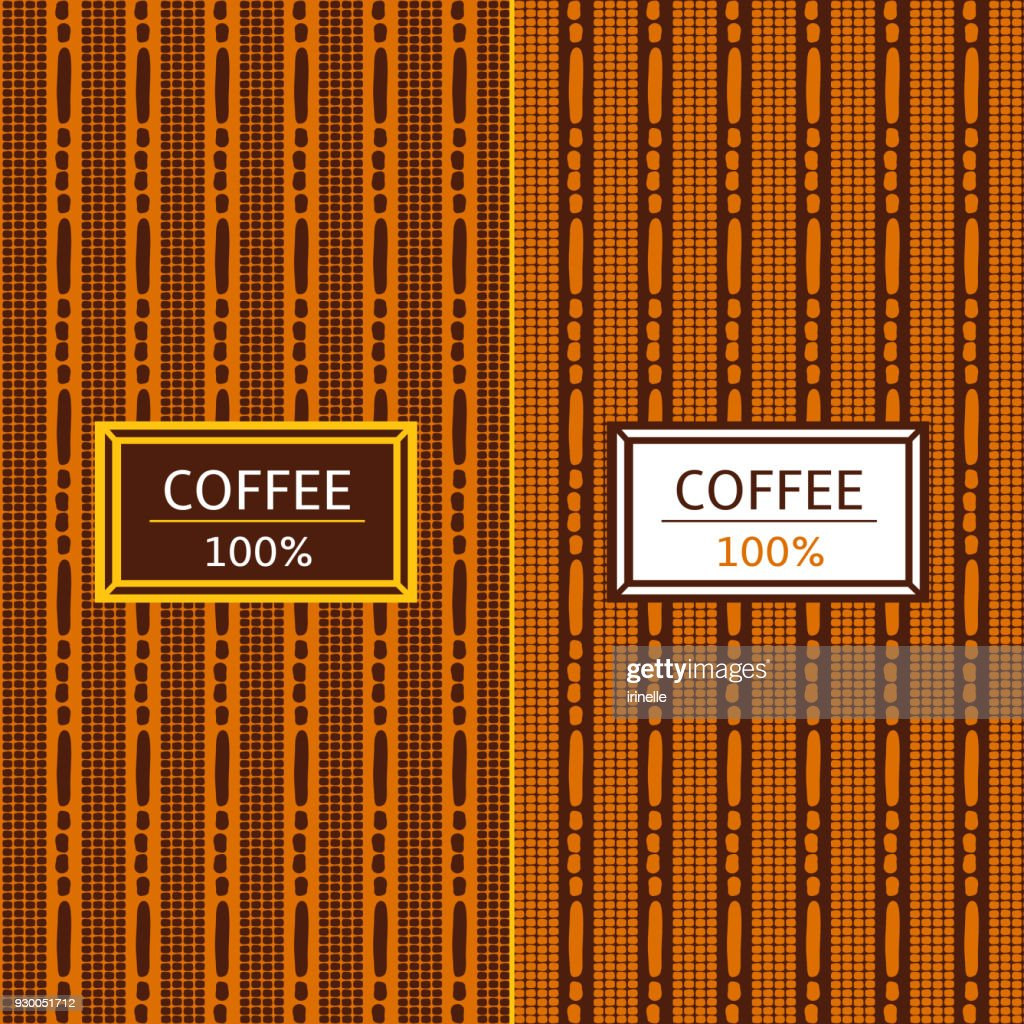 Coffee Package set template vector. Tribal collection of patterns for african label design. Tag for drink products, cocoa bean sweets, wrapping paper and coffee shop.