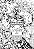 Coffee patterned background for adult coloring book.