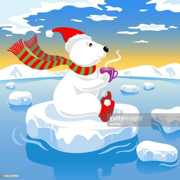 illustrations, cliparts, dessins animés et icônes de café ours polaire sur glace - ours polaire