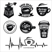Coffee related posters, labels, badges and design elements set.