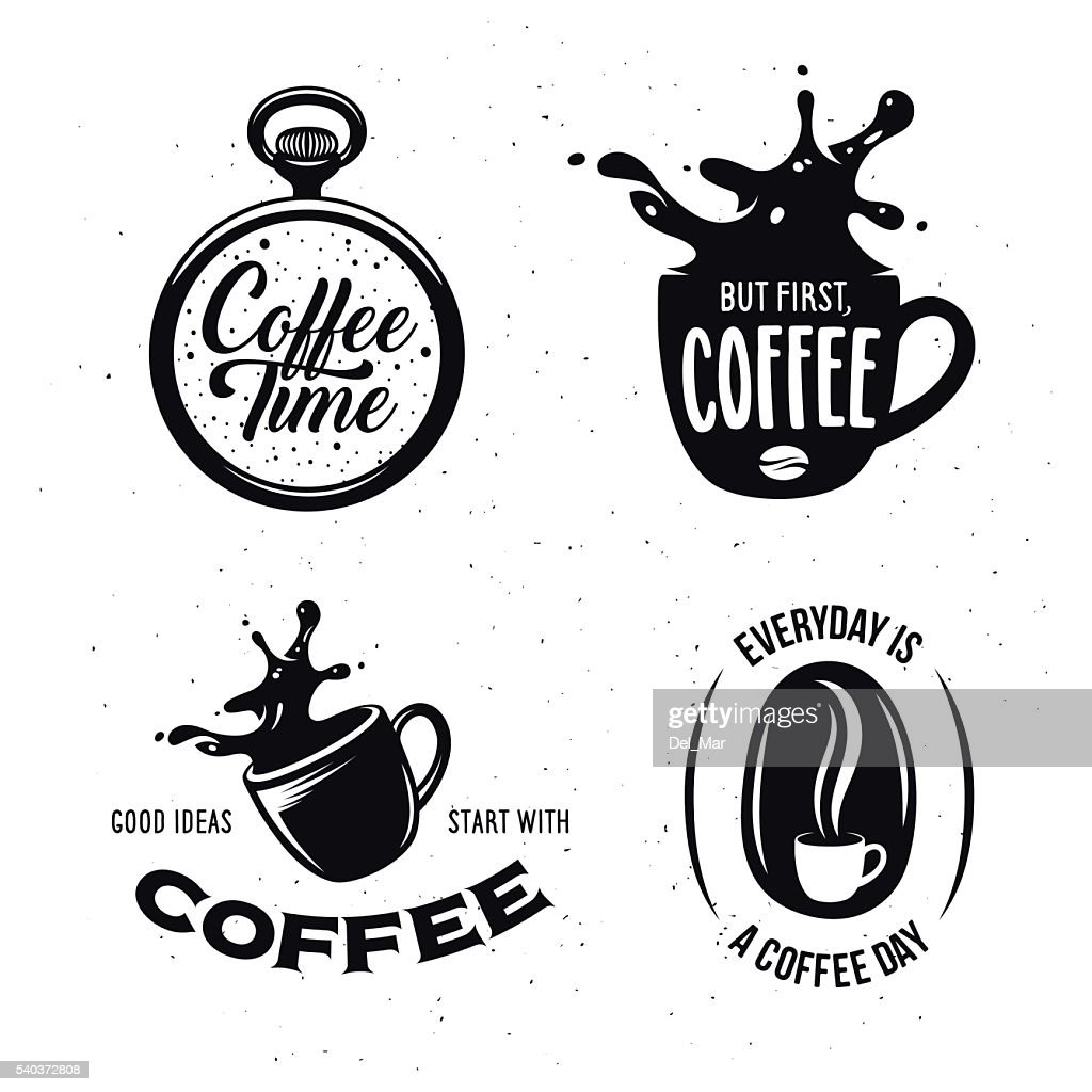 Coffee related quotes set. Vector vintage illustration.