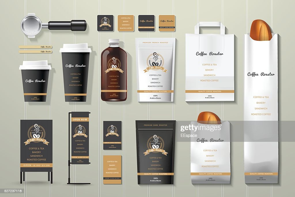 Coffee roaster black and gold corporate identity template design set