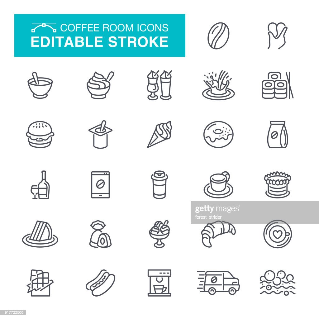 Coffee Room Editable Stroke Icons : stock illustration
