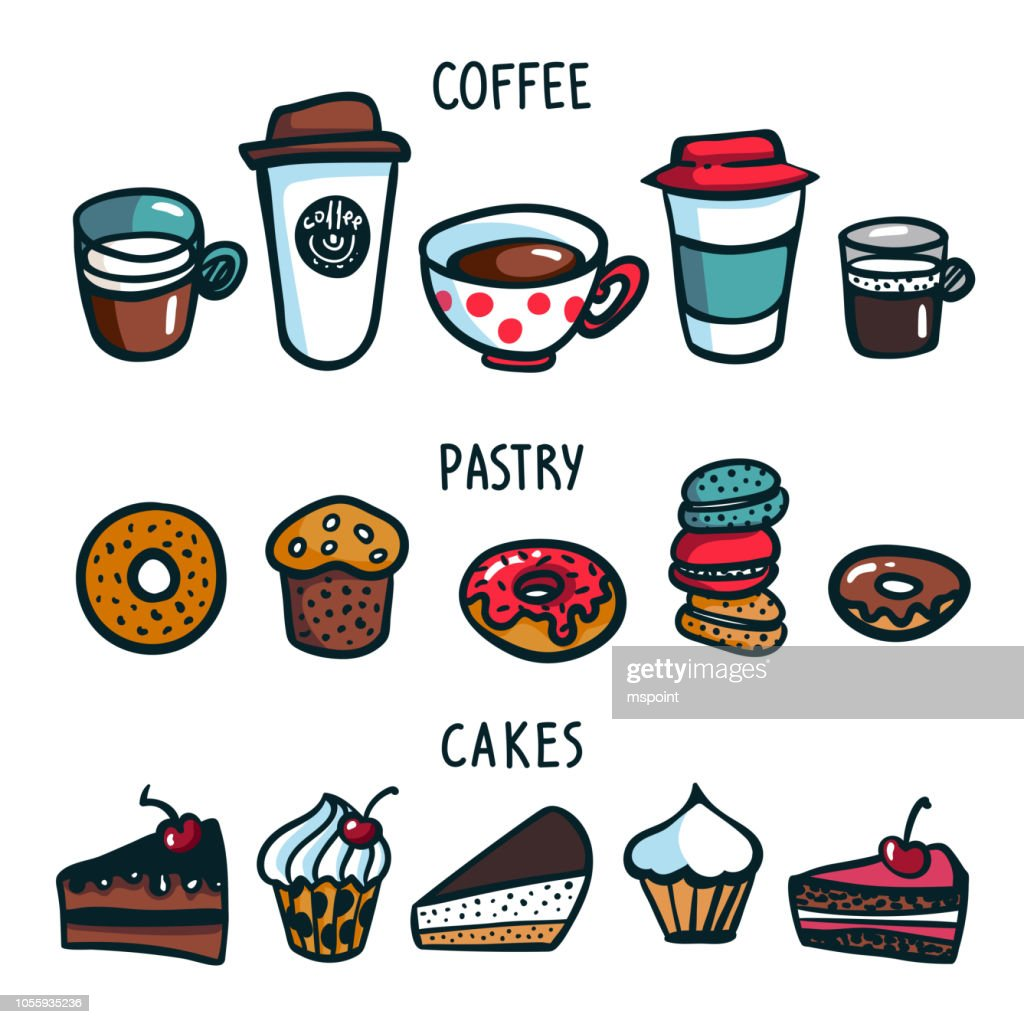 Coffee set. Coloruful doodle style set of objects on coffee theme. Coffee cups, pastry and cakes on white background. Excellent for menu design and cafe decoration. Cartoon vector illustration.