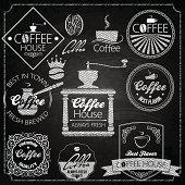 coffee set elements chalkboard