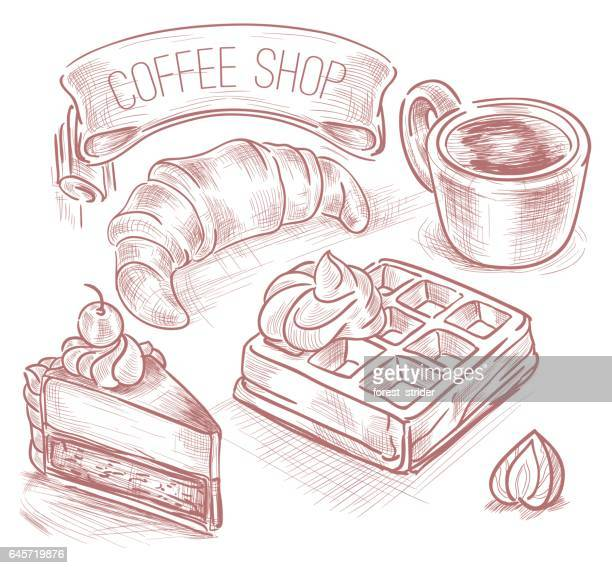 coffee set icons, hand drawning - sugar food stock illustrations, clip art, cartoons, & icons