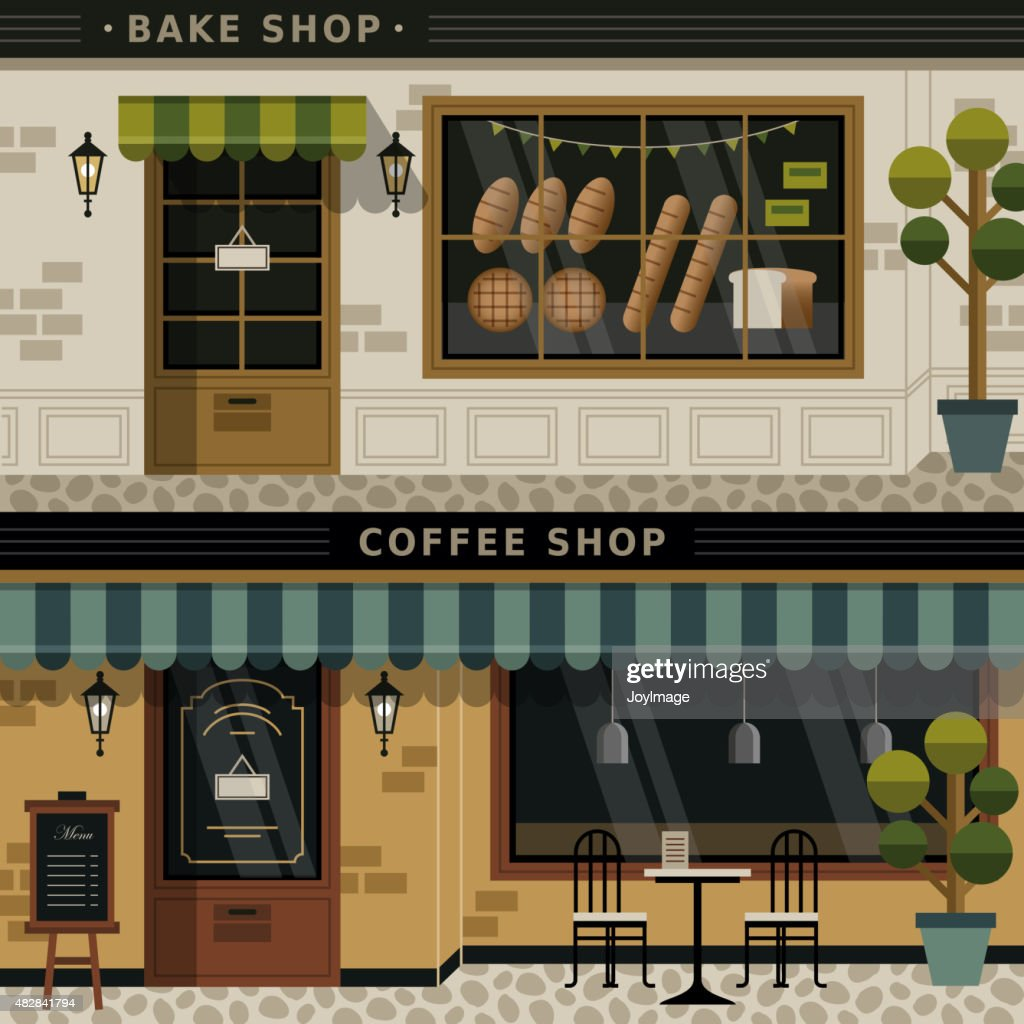coffee shop and bakery facades