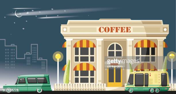 Coffee shop at night (vector)
