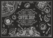 Coffee Shop Chalkboard Top view frame. Vector illustration