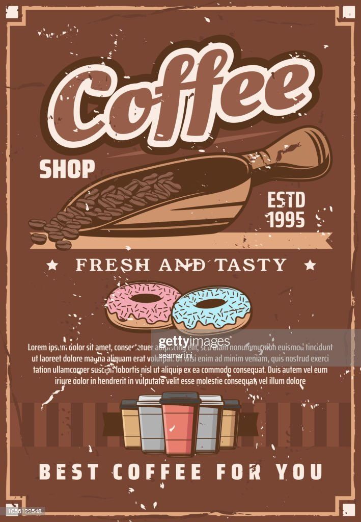Coffee shop cups and scoop, beans and donuts