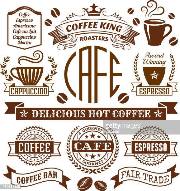 Coffee shop Elegant royalty-free vector arts , Banners & Labels Collection