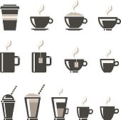 Coffee Shop Hot And Cold Drinks Icon Set.
