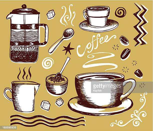coffee shop icons - sugar cube stock illustrations, clip art, cartoons, & icons