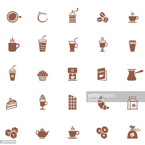 coffee shop icons - hot drink stock illustrations, clip art, cartoons, & icons