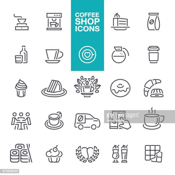 coffee shop line icons - coffee break stock illustrations, clip art, cartoons, & icons