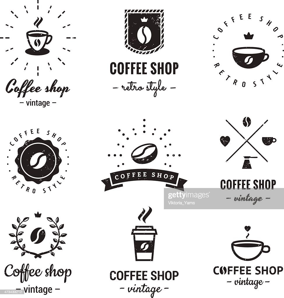 Coffee shop logo vintage vector set. Hipster and retro style.